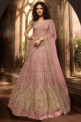 Rose Gold Color Net Wedding Lehenga Choli With Stone Work