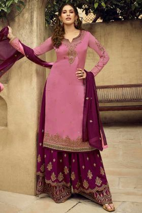 Rose Pink Color Satin Georgette Sharara Suit With Heavy Embroidery Work