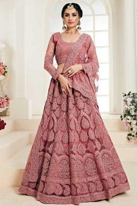 Rose Pink Net And Satin Silk Two Layer Inner Lehenga Choli