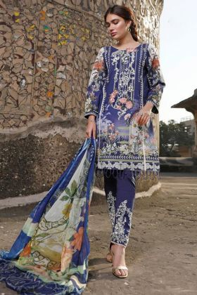 Rosemeen Festive Pure Cotton Blue Color Pakistani Salwar Suit