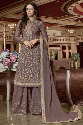 Rosy Brown Georgette Sharara Suit