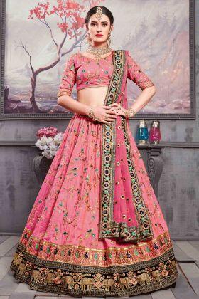 Rouge Pink Banarasi Silk Bridal Lehenga Choli