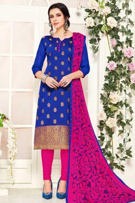 Royal Blue Banarasi Silk Churidar Salwar Kameez