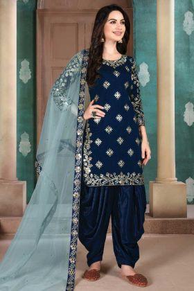 Royal blue Color Art Silk Embroderied Suit