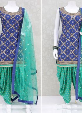 Royal Blue Embroidered Patiala Salwar Suit