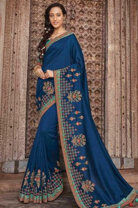 Royal Blue Vichitra Silk Border Saree With Embroidery Work