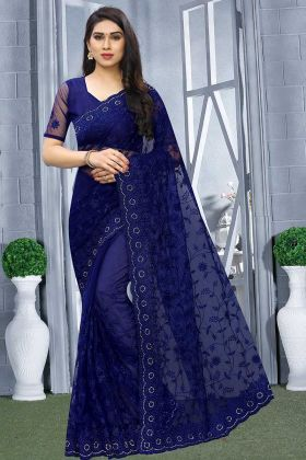 Royal Blue Wedding Saree In Net Fabric