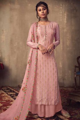 Royal Look Baby Pink Salwar Suit In Jacquard Silk Fabric
