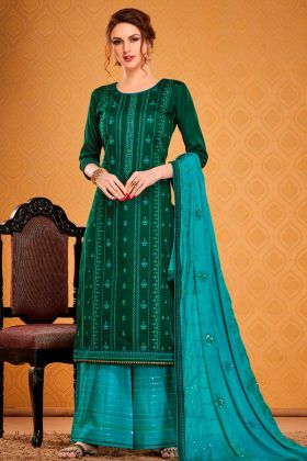 Royal Look Blue Color Cotton Silk Salwar Suit With Chinon Dupatta