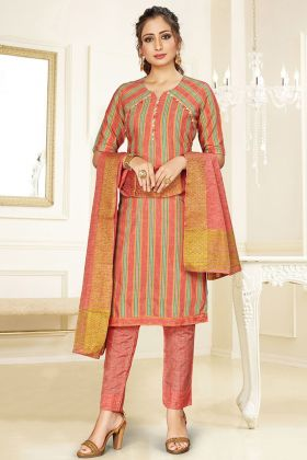 Royal Look Dark Peach Salwar Suit In Cotton Fabric