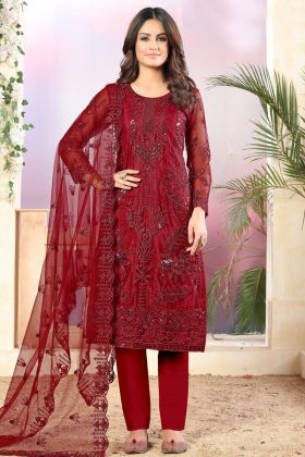 Royal Look In Red Color Net Fabric Party Wear Salwar Suit