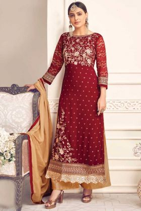 Royal Look Maroon Color Viscose Georgette Embroidery Salwar Suit