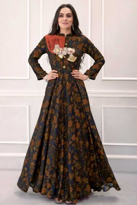 Royal Blue and Brown Rayon Printed Gown