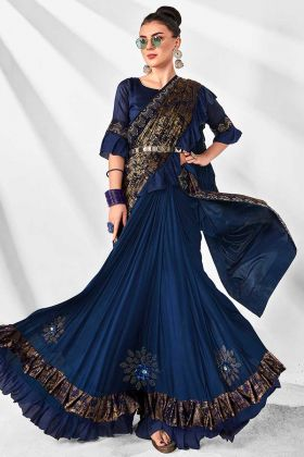 Royal Blue and Gold Color Lycra Wedding Ruffle Saree With Art Silk Blouse