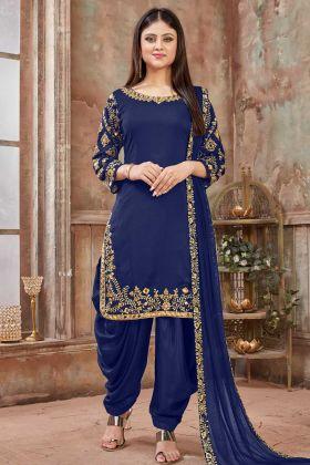 Royal Blue Art Silk Patiala Dress