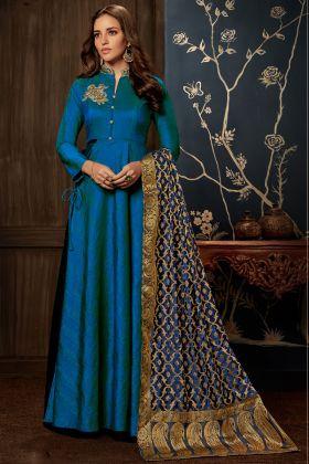 Royal Blue Art Silk Wedding Gown