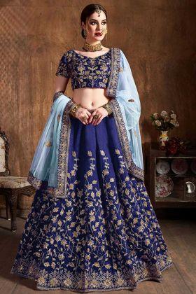 Royal Blue Color Art Silk Lehenga Choli With Zari Embroidery Work
