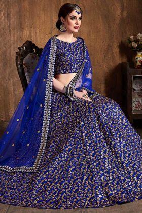 Royal Blue Color Art Silk Wedding Lehenga Choli With Zari Embroidery Work