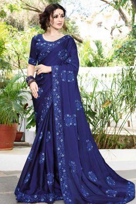Royal Blue Color Festive Saree