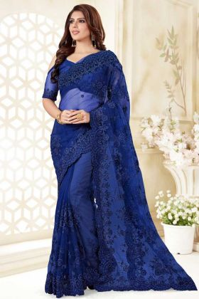Royal Blue Color Stone Work Net Party Wear Saree