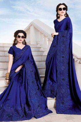 Royal Blue Embroidery Saree