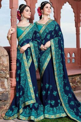 Royal Blue Georgette Embroidery Saree With Art Silk Blouse