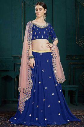Royal Blue Georgette Lehenga Choli With Baby Pink Net Dupatta