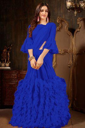 Royal Blue Georgette Ruffle Saree Online