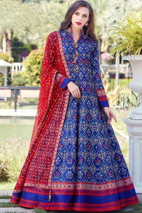 Royal Blue Heavy Soft Killer Silk Printed Gown