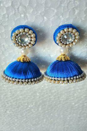 Royal Blue Resham Thread Jhumki Earrings