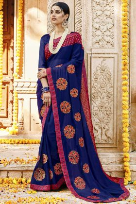 Royal Blue Silk Georgette Party Wear Saree