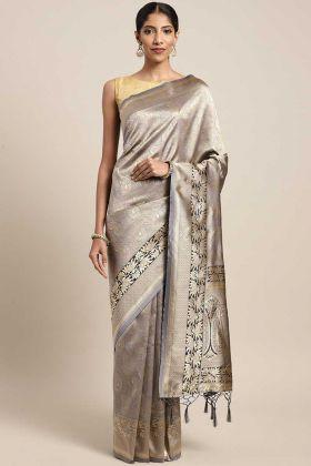 Royal Look Banarasi Art Silk Art Silk Traditional Saree Grey Color