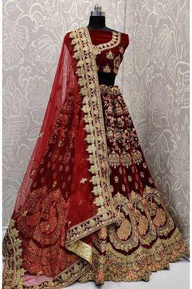 Royal Looking Heavy Bridal Lehenga Velvet Choli Maroon Color