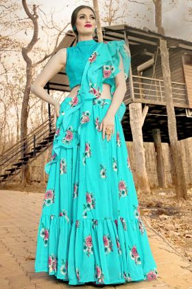 Ruffle Dupatta With Sky Blue Festival Lehenga Choli For Girls