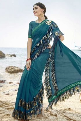 Ruffle Saree Blue Color For Party