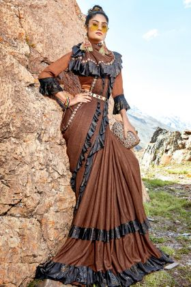 Ruffle Brown Lycra Saree