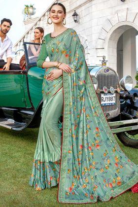 Ruffle Pastel Green Wedding Saree Stone Work