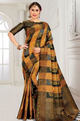 Rust And Black Party Wear Cotton Silk Weaving Saree