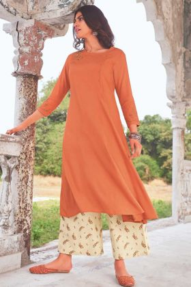Rust Color Readymade Super Fine Modal Khadi Kurti