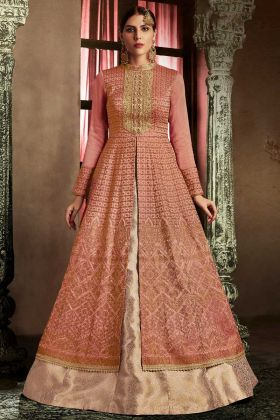 Rust Color Silk Indowestern Salwar Suit
