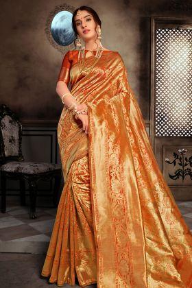Rust Orange Art Silk Traditional Saree