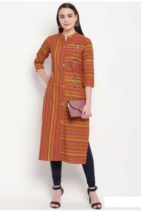 Rust Orange Cotton Casual Kurti In Prints And Hand Work
