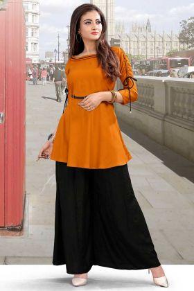 Rust Orange Rayon Fabric Plazzo Kurti
