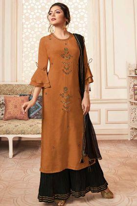 Rust Orange Viscose Designer Sharara Suit