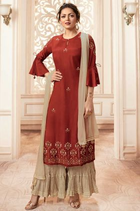 Rust Red Viscose Sharara Suit In Sequins Work