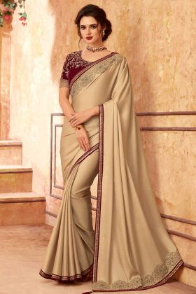Sabya Silk Embroidered Lace Border In New Saree Beige Color