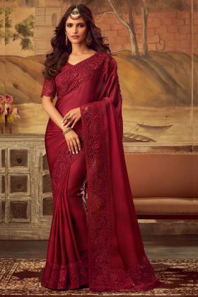 Sabya Silk Reception Saree Embroidery Work In Red Color