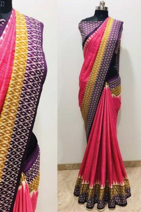 Sale For This Printed Pink Color Malgudi Silk Saree