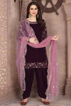 Salwar Kameez Embroidery 9000 Velvet Patiala Suit In Wine Color