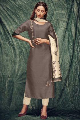 Sand Grey Color Art Silk Designer Kurti In Hand Work